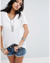 Free People - Pearl's V Neck T-shirt - Lyst