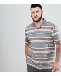 ASOS DESIGN - Plus Polo With Retro Stripe In Linen Look And Revere Collar - Lyst
