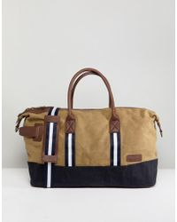 River Island - Canvas Holdall In Stone - Lyst