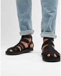 ASOS - Design Gladiator Tech Sandals In Black - Lyst