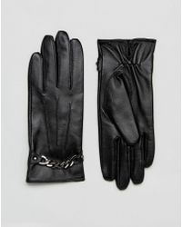 Barneys Originals - Barneys Real Leather Gloves With Chain Detail - Lyst