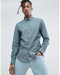 Farah - Steen Slim Fit Brushed Oxford Weave Shirt In Green - Lyst