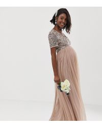 3043bd7868931 Maya Maternity Sequin Cape Tulle Skirt Maxi Bridesmaid Dress in Green - Lyst