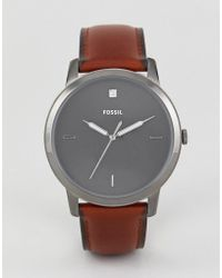 Fossil - Fs5479 Minimalist Leather Watch 44mm - Lyst