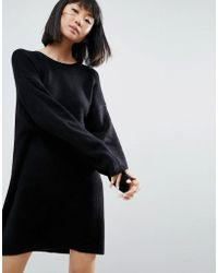 ASOS - Knitted Dress With Crew Neck In Fluffy Yarn - Lyst