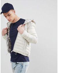 Bershka - Hooded Puffer Jacket In Sand - Lyst