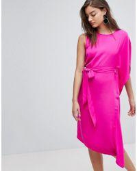 Warehouse - Asymmetric Ruffle Midi Dress - Lyst