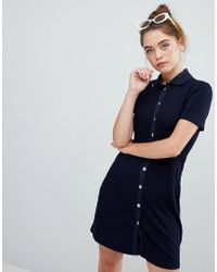 Bershka - Polo Button And Ribbed Swing Dress In Blue - Lyst