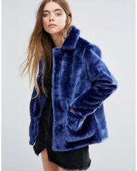 First & I - Faux Fur Jacket - Lyst