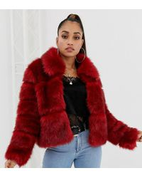 Missguided - Bubble Faux Fur Coat In Red - Lyst