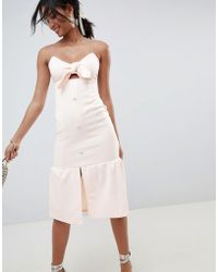 ASOS - Design Scuba Knot Front Midi Pephem Dress - Lyst