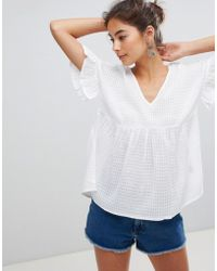 ASOS - Design Cotton Smock Top In Dobby Check - Lyst