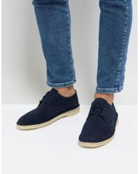 Clarks - Clarks Suede Desert Crosby Shoes In Navy - Lyst