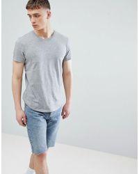 Esprit - Longline T-shirt In Grey With Crew Neck - Lyst
