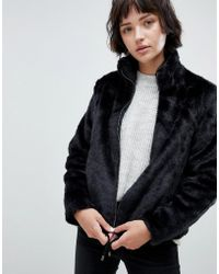 B.Young - Faux Fur Funnel Neck Jacket - Lyst