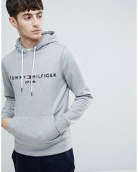 Tommy Hilfiger - Chest Embroidered Logo Hoodie In Grey Marl - Lyst