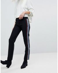 Versace Jeans - Tuxedo Trouser With Logo - Lyst