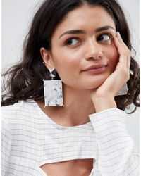 ASOS DESIGN - Asos Statement Earrings With Marble Effect Recycled Cotton Stone - Lyst