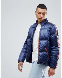 Bellfield - Puffer Jacket With Sleeve Tape - Lyst