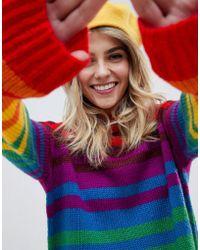 ASOS Oversized Sweater In Bright Stripe - Multicolour