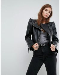 ASOS - Leather Biker Jacket With Shoulder Pads - Lyst