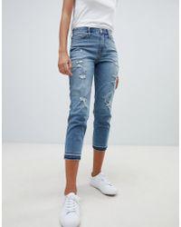 Hollister - Dark Destroyed Girlfriend Jeans - Lyst