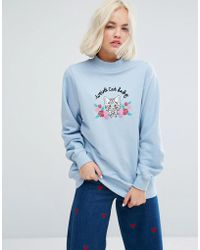 Lazy Oaf - High Neck Sweatshirt With Weird Cat Lady Embroidery - Lyst