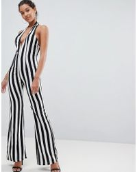 PrettyLittleThing - Striped Plunge Jumpsuit - Lyst