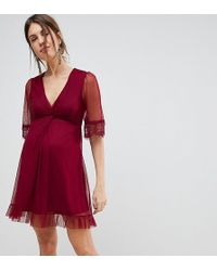 ASOS | Dobby Knot Front Lace Trim Mini Skater Dress | Lyst