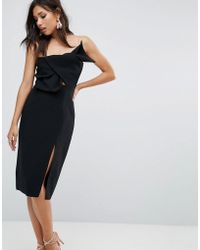 True Decadence - Bow Front Bandeau Pencil Dress With Split Detail - Lyst
