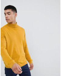 ASOS Cotton Roll Neck Jumper In Mustard