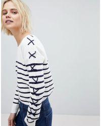 Suncoo - Breton Stripe Jumper With Lacing - Lyst