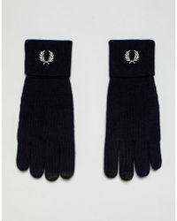 Fred Perry - Gants en laine mrinos avec logo - Lyst