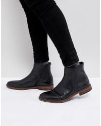 ASOS - Chelsea Boots In Black Leather With Texture And Zip Detail - Lyst