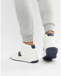 ASOS - Retro High Top Trainers In White - Lyst
