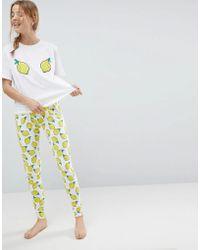 ASOS - Embroidered Lemon Tee And Legging Pyjama Set - Lyst