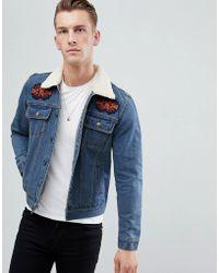 Boohoo - Denim Jacket With Fleece Collar In Blue Wash - Lyst