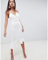 ASOS - Scuba Cami Pephem Midi Dress - Lyst