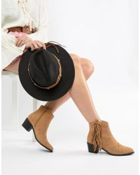 1487dd3d4bf Lyst - Steve Madden Teve Madden Flapper Fringed Heeled Suede Boots ...