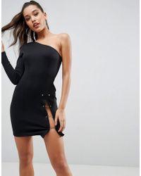 ASOS - One Shoulder Gold Piercing Thigh Split Mini Dress - Lyst