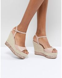Faith - Liddy Pink Glitter Espadrille Wedges - Lyst