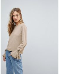 Vila - Tie Sleeve Cropped Jumper - Lyst