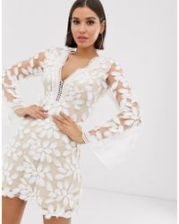 Love Triangle - Floral Embroidered Long Sleeve Dress In White - Lyst