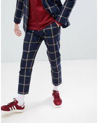ASOS - Skinny Crop Suit Pants In Navy Seersucker Windowpane Check - Lyst