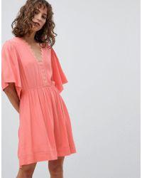 Suncoo - Skater Dress With Flutter Sleeve - Lyst