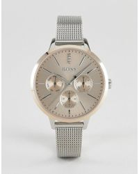 BOSS - 1502423 Symphony Chronograph Mesh Watch In Silver - Lyst