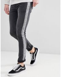 ASOS - Super Skinny Jeans In Washed Black With Checkerboard Stripe - Lyst
