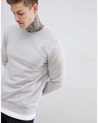 ASOS - Design Sweatshirt With Hem Extender In Light Grey - Lyst