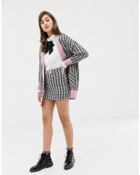 Sister Jane Mini Skirt With Embellished Bow In Tweed Co-ord - Multicolor