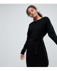 ASOS - Asos Design Tall Jumper Dress With Belted Detail - Lyst